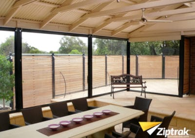 Ziptrak® blinds on an enclosed patio