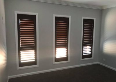 Basswood Plantation Shutters in Ebony