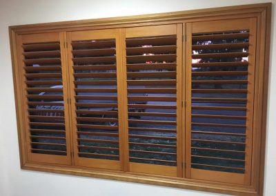 Basswood Plantation Shutters in Maple