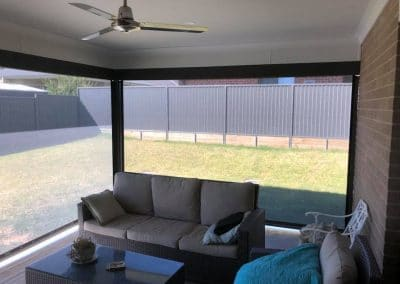 Ziptrak® blinds on outdoor area (internal)